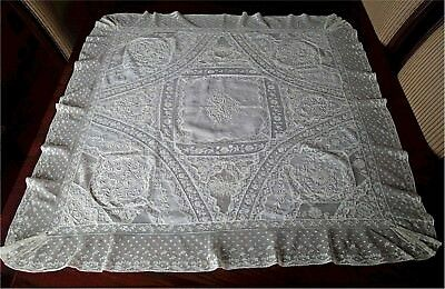 Gorgeous Antique Mixed Lace Whitework Embroidered Tablecloth Topper