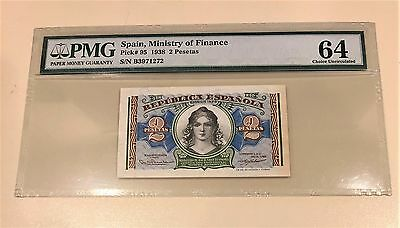 Spain 1938 2 Pesetas P #95-Spanish Civil War-Pmg 64 Choice Unc. Great Embossing
