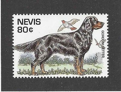Dog Art Full Body Portrait Postage Stamp GORDON SETTER Nevis St Kitts 1995 MNH