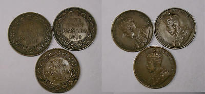 1914 19 20 Canada Large Cents Lustrous High Grades Inv#325-30