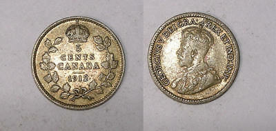 1912 Canada Sterling Silver 5 Cents Problem Free Vf/xf Inv#325-29