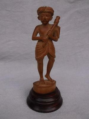 490/ Early To Mid 20Th Century Indian Hand Carved Sandalwood Carving Of A Farmer
