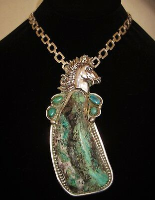 NAVAJO STALLION NECKLACE - CHAVEZ - Turquoise in the Rough,Sterling Silver,181gr