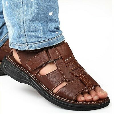 New Mens Summer Open Toe Leather Casual Sports Flat Comfort Beach Sandals Shoes