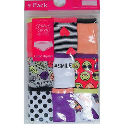 NEW Girls Faded Glory 9 Pack Fun Prints Hipster Panties Underwear Size 12