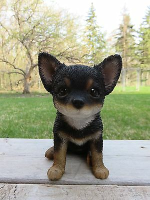 Chihuahua Puppy Dog Figurine 6 in. Dark Fur Resin Ornament Statue Chiwawa New