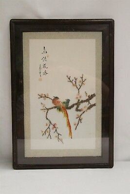 Chinese 2 Bird Branch Leaves Flowers Rock Carved Shell Wall Art Signed Hanging