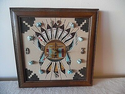 Awesome Navajo Sunshield Sand Art Wall Clock W/turquoise Stones Artist Signed