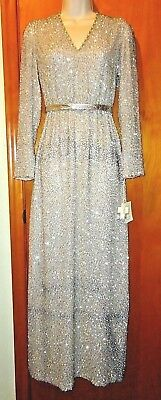 60s Victoria Royal 6 Cocktail Gown Dress Solid Silver Beads & Belt NOS Tags Att