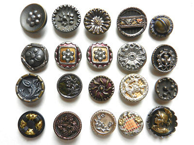 Variety Lot of 20 Antique Vintage Small Fancy Metal Buttons