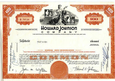 100 Shares 1969 Howard Johnson Company Cancelled Stock Certificate w Lamplighter
