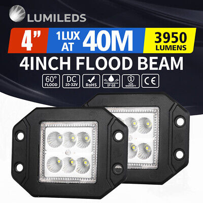 2 x 4inch 30W Flush Mount CREE LED Work Light Bar Flood 12V 24V Truck Reverse 5""