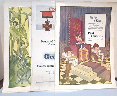 3 POST CEREAL Advertising Paper SIGN Grape-Nut WWI Medal Toasties Vintage