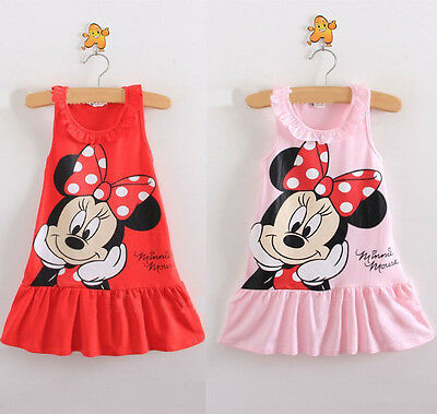Red/Pink Kids Baby Girls Minnie Mouse Dress Cartoon Tops Clothes Dresses Party R