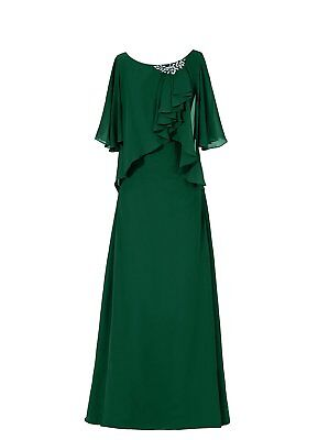 US Women's Long Scoop Neck Ruffles Mother of the Bride Dress Sleeves Party Dress