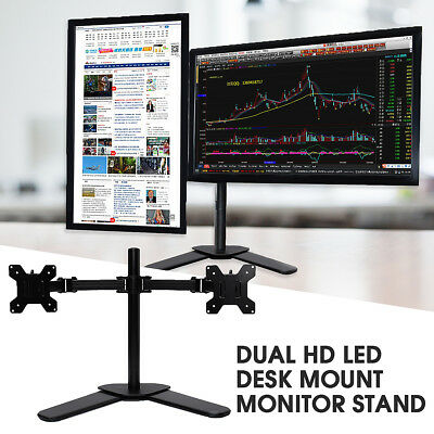 Dual HD LED Desk Mount Monitor Stand Bracket 2 Arm Holds Two LCD Screen TV FAST