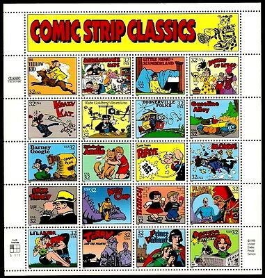 1995 - COMIC STRIP CLASSICS - #3000 Mint -MNH- Sheet of 20 Postage Stamps