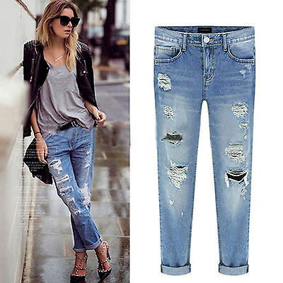 Women Denim Ripped Destroyed Jeans Pants Stretch Skinny Slim Casual Trousers AU