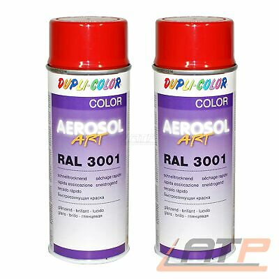 2x 400ml DUPLI COLOR AEROSOL ART RAL 3001 ROT GLANZ LACKSPRAY SPRÜH LACK SPRAY