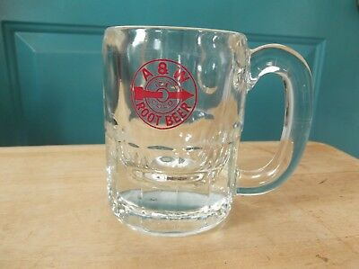 Vintage A & W Ice Cold Root Beer Clear 4 3/8-Inch Glass Mug with Red Arrow