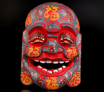 Vintage Collectable Handwork Carved Solid Wood Mask Wall Decoration Blessing