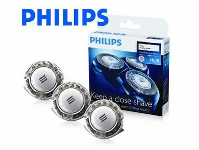 3 PHILIPS PHILISHAVE HQ8 Replacement Shaver Heads Blades NEW & GENUINE in UK