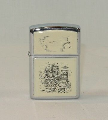 ZIPPO Scrimshaw LIGHTER Ship and Lighthouse 1988