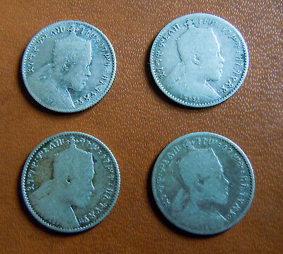 ETHIOPIA - 1902/1903-A Gersh (EE1895)  lot 4 COINS SILVER