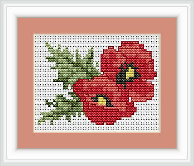 Red Poppies Flowers Counted Cross Stitch Kit
