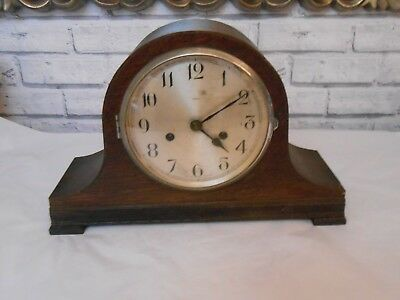 Lovely Vintage Enfield Napoleon Chiming Mantel Clock With Pendulum & Key    (H)