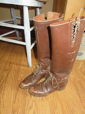 Vintage Brown Leather Tall Lace Horse Riding Boots Great Display Equestrian Nice