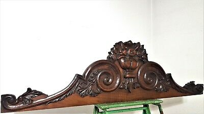 "Scroll Leaves Pediment 46"" Antique French Hand Carved Wood Architectural Salvage"