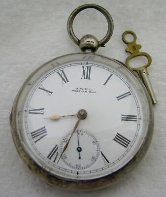 Antique 18S Coin Silver Waltham Key Wind Pocket Watch