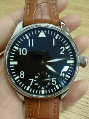 44mm Parnis 6498 Hand Winding Movement Brown Band Men Casual Watch Luminous Dial