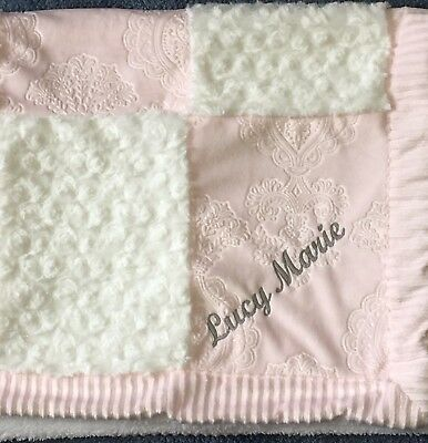 KYLE & DEENA Pink White Fancy minky patchwork baby girl blanket Personalized new