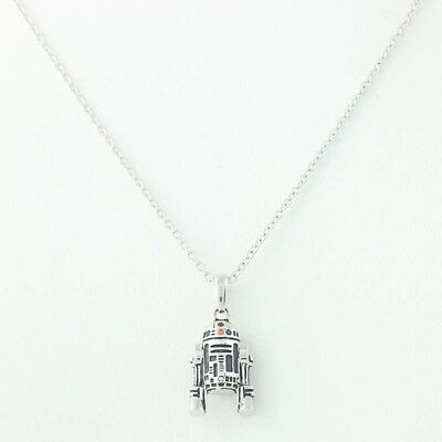 New R2D2 CZ Pendant Necklace Star Wars Jewelry Sterling Silver In Box Disney 3D