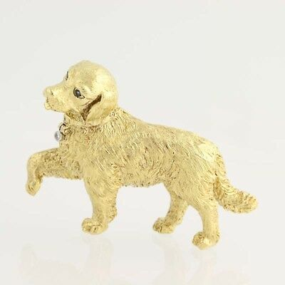 Tiffany & Co. Golden Retriever Brooch 18k Yellow Gold Diamond & Sapphires .06ctw