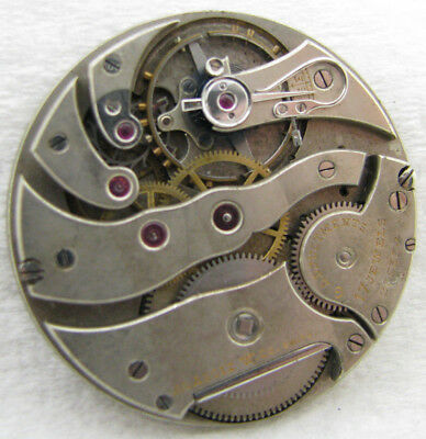 Antique High Grade Swiss Agassiz 17 Jewel Pocket Watch Movement Parts Repair