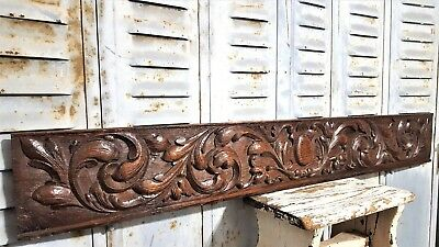 "Scroll Leaves Pediment 40"" Antique French Hand Carved Wood Architectural Salvage"