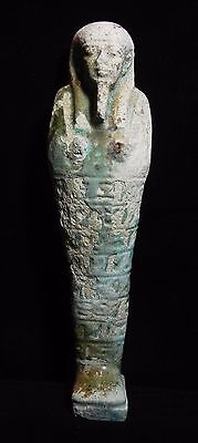 Zurqieh - A Huge Ancient Faience Ushabti. 600 - 300 B.c. Beautiful Face!