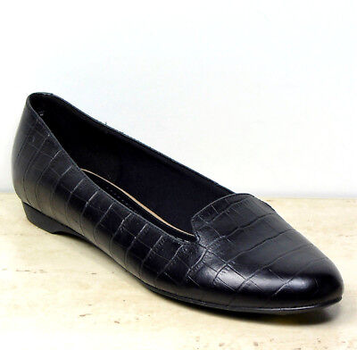 New M&S Real LEATHER Flat Heel ALBERT PUMPS ~ Size 6 ~ BLACK Croc (rrp £35)