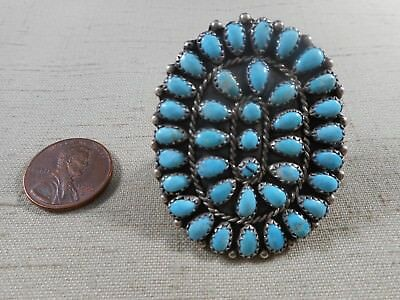 LARGE vintage turquoise cluster ring  SIZE 8