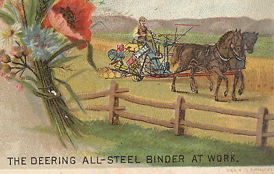 1880's THE DEERING ALL STEEL BINDER AT WORK, TRADE CARD,  FARMER & HORSES  TC450