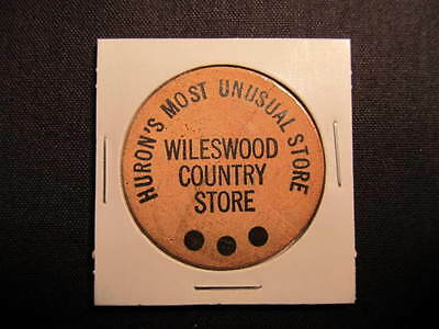 Huron, Ohio Wooden Nickel token - Wileswood Country Store Wooden Coin-5 CentWood