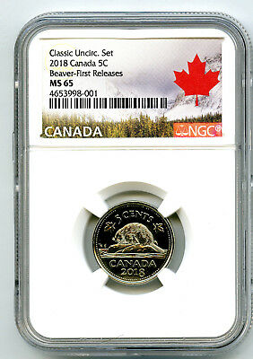 2018 Canada 5 Cent Classic Nickel Ngc Ms65 First Releases Rare Pop5 Cert 001