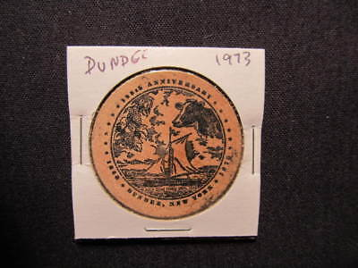 1973 Dundee, New York Wooden Nickel token - Dundee, NY 125th Wooden Coin BLK
