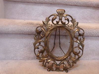"""ANTIQUE Rococo Baroque Style Victorian Ornate Shiney Brass Oval Frame 11"""" x 9"""""""