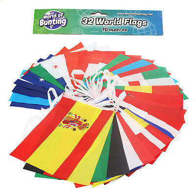 32 World Cup Team Flags Bunting 2018 Russia Football Banner 10m Length