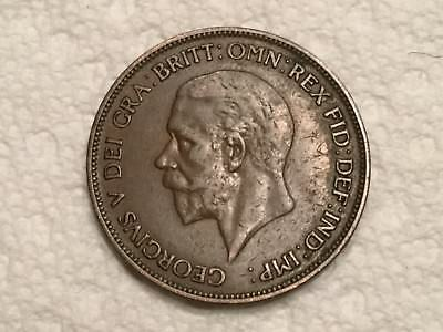GREAT BRITAIN 1928 1 Penny coin circulated rim nick