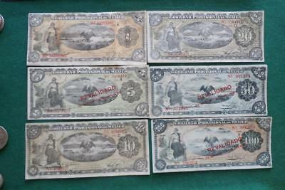 1914 6 notes Gobierno Provisional Revolutionary 1,5,10,20 & 50 pesos XF-AU